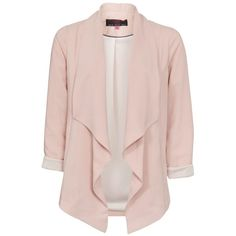 Pale Pink Longline Waterfall Blazer ($39) ❤ liked on Polyvore