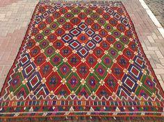 Red green and blue Turkish Kilim rug area rug kilim by PocoVintage