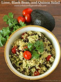 Lime Black Bean Quinoa Salad is a simple, delicious meal-in-a-bowl. Use 2 cups each black beans and cooked quinoa to serve 4.