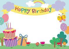 일러스트/귀여움/생일/이벤트/기념일/팬시/사람없음/오브젝트/백그라운드/컨셉/프레임/카피스페이스/문자/영어/메시지/파티/리본/무지개/곤충/나비/풍선/나무/초원/꽃/선물/케이크/편지지/카드[우편]/ Happy Birthday Frame, Birthday Frames, Happy Birthday Images, Happy Birthday Greetings, Birthday Board, Diy And Crafts, Crafts For Kids, School Icon, School Frame