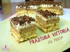 Prajitura Victoria cu nuca | Pastel con nueces ( CC Esp Sub ) | Anyta Co... Romanian Desserts, Romanian Food, Romanian Recipes, Cake Videos, Bread Baking, Sweet Recipes, Good Food, Dessert Recipes, Ice Cream