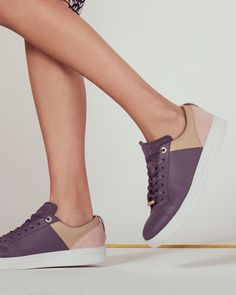 Lace-up colour block sneakers - Deep Purple | Shoes | Ted Baker