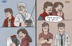 Gravity Falls by Tenshi-Inverse on DeviantArt The Nutshack, Gravity Falls Crossover, Fall Memes, Dipper And Mabel, The Time Machine, Get Shot, Back To The Future, Twins, Animation