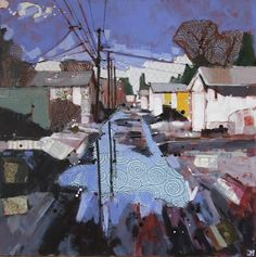 """a puddle fer yer thoughts I  (alley way in parkallen, edmonton)  mixed media on canvas, 30"""" x 30""""   SOLD"""