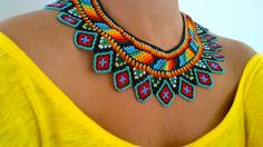 Beaded Choker Necklace, Seed Bead Necklace, Collar Necklace, Beaded Jewelry Designs, Macrame Jewelry, Seed Bead Crafts, Brick Stitch Earrings, Beading Patterns Free, Bead Loom Bracelets