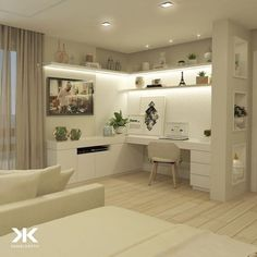 Home Office Closet, Home Office Setup, Home Office Space, Home Office Design, Home Interior Design, House Design, Corner Office, Office Desk, Office Chic
