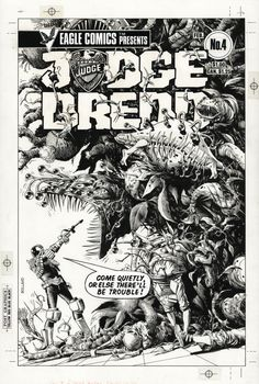 Original Brian Bolland covers to the US Eagle Comics reprints of Judge Dredd from the 80s.