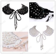New Rhinestone Knitted Wool Faux Collar Necklace Peter False Choker Detachable Wrap Scarf