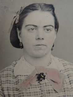 Antique Tintype Victorian Photograph Young Lady Hair Bow Buttons Wow EYEBROWS | eBay