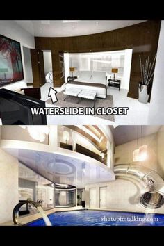 A bedroom with a waterslide. Who wouldn't want that?!