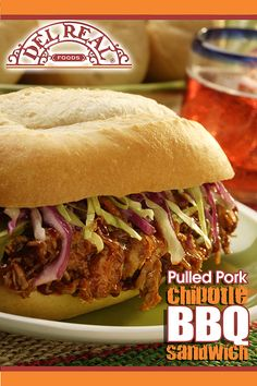 Pull Pork Sandwich - In large bowl, whisk together oil, vinegar, salt, pepper and celery seed. Add cabbage and toss until mixed well; set aside. In large saucepan, combine barbecue sauce w/chipotle puree; blend well. Heat sauce over low heat until hot: stirring often. Slowly add Del Real Foods® Carnitas to chipotle barbecue sauce. Gently stir carnitas in sauce until heated through; remove from heat. Evenly divide carnitas mixture among hot toasted rolls & top 1/2 cup coleslaw. Serve…