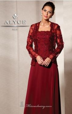 Alyce Designs 29565:  A gown for any occasion, this floral lace gown by Alyce Jean De Lys 29565 is sure to be your new favorite. Intricate floral patterned lace is overlayed with sparkling embroidery to create the fitted bodice. The scalloped neckline and hemline of the bodice matches that of the luxurious lace jacket. Wear this with the gown or let the lace creation stand alone in all its sleeveless glory. The flowing A-line skirt adds maximum elegance to this versatile gown.
