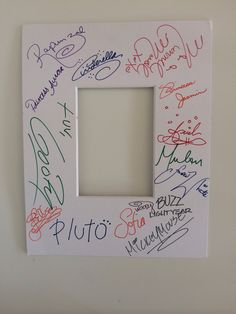 Bought a mat at Michaels and had the characters sign it!! Great keepsake for our first Disney Trip :-)