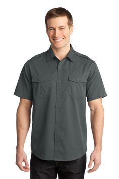 Port Authority Stain-Resistant Short Sleeve Twill Shirt S648 Steel Grey