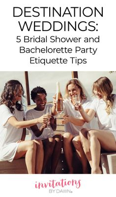 5 Must-Know Bridal Shower and Bachelorette Party Etiquette Tips for Destination Weddings. A destination wedding comes with its own set of rules for bridal showers and bachelorette parties. The team at Invitations by Dawn shares 5 must-know etiquette tips. Wedding Reception Invitations, Bridal Shower Invitations, 2 Piece Homecoming Dresses, Prom Dress, Wedding Weekend Itinerary, Destination Wedding Locations, Mermaid Evening Dresses, Bridal Wedding Dresses, Etiquette