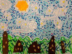 Zilker Elementary Art Class: 1st Grade Starry Night Over Austin