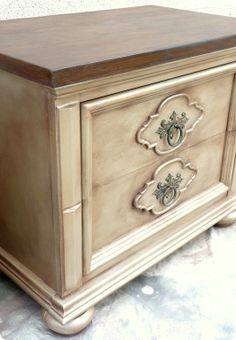 Antique champagne nightstand