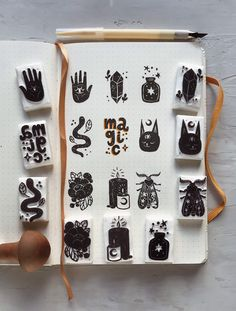 Magic stamps set, a collection of small magic themed stamps Stamp Printing, Printing On Fabric, Stencil, Japanese Stamp, Magic Symbols, Stamp Carving, Handmade Stamps, Linoprint, Linocut Prints
