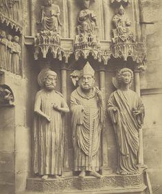 Bisson Frères - Reims Cathedral, three statues, 1858