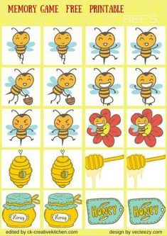 ANIMALS - #MEMORY #GAME FREE PRINTABLES / #PRESCHOOL Bee Activities, Preschool Games, Toddler Activities, Bees For Kids, First Grade Crafts, Bee Games, Daycare Themes, Bee Free, Card Games For Kids