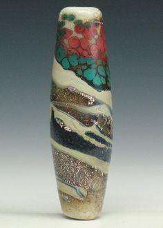 SJC Lampwork 41 x 12 mm. handmade dichroic & silver glass tube bead ~SRA~ USA~ #SJCLampwork #Lampwork