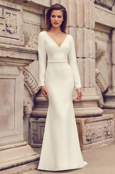 View Glamorous Long Sleeve Wedding Dress - Style from Mikaella Bridal. Crêpe gown with V-neck and long sleeves. Inverted V-back neckline with button closure at neck. Fit and flare skirt. Crepe Wedding Dress, Bridal Wedding Dresses, Wedding Dress Styles, Lace Wedding, Crepe Dress, Winter Wedding Dresses, European Wedding Dresses, Crystal Wedding, Wedding Cake