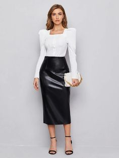 Faux Leather Skirt, Pu Leather, Dress Skirt, Skirt Set, Two Piece Outfit, Clothing Co, Manga, Pretty Dresses, Fashion News