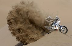 Salvadoran Jorge Aguilar takes part in the sixth stage of Dakar Rally between Arica and Calama, Chile, on Jan. 10. (Felipe Trueba/European Pressphoto Agency)