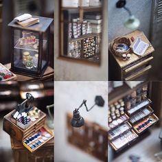 By petipetit ♡ ♡ Miniature Quilts, Miniature Crafts, Miniature Dolls, Miniature Furniture, Dollhouse Furniture, Haunted Dollhouse, Dollhouse Miniatures, Vitrine Miniature, Minis
