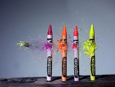 High speed photography: high-speed bullet. Can't believe they are ruining these crayons!