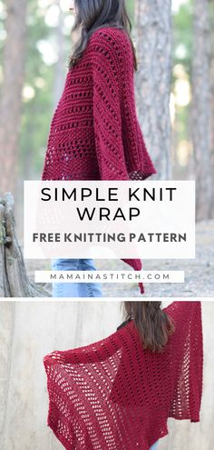 Merlot Simple Wrap Blanket Scarf Free Knitting Pattern This wrap features beautiful knit stitches that are all very easy! If you know how to knit and purl, you can definitely . Knit Wrap Pattern, Chunky Knitting Patterns, Easy Knitting, Knitting Designs, Knitting Stitches, Knit Patterns, Knitting Projects, Free Pattern, Knitting Tutorials