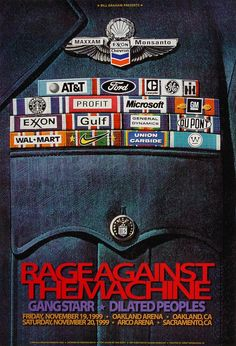 Rage Against the Machine Poster - Rock posters, concert posters, and vintage posters from the Fillmore, Fillmore East, Winterland, Grande Ballroom, Armadillo World Headquarters, The Ark, The Bank, Kaleidoscope Club, Shrine Auditorium and Avalon Ballroom.