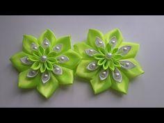 """Цветочки из атласной ленты для заколок """"Канзаши"""" - YouTube"""