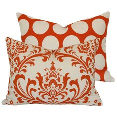 Orange Creamsicle Collection - Boudoir/Travel Throw Pillow Cover - Damask and Polka Dots - Orange and Cream Hues - 1 Pillow Cover Decorative Pillow Covers, Throw Pillow Covers, Orange Pillows, Cream Pillows, Accent Pillows, Orange Creamsicle, Textiles, Home Decor Fabric, Decoration