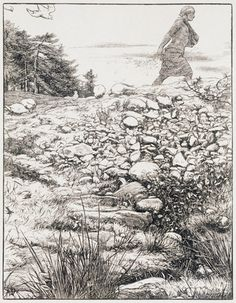 """Phillip Medhurst presents engraving by Sir John Everett Millais from """"The Parables of Our Lord"""" : The Sower Engraving Illustration, Book Illustration, John Everett Millais, Parables Of Jesus, Bible Pictures, Royal Academy Of Arts, Pre Raphaelite, Wood Engraving, Southampton"""
