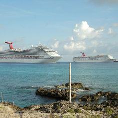 Carnival Freedom and Carnival Paradise at Georgetown Grand Cayman Going here May 2013