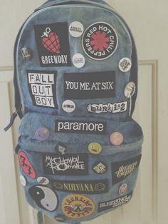 bag bands grunge backpack bands, acdc, rock, acid wash rock nirvana