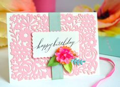 Brenda Walton Floral Panel die for Sizzix. Card by Wanda Guess