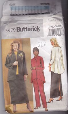Butterick 3979 Pattern Uncut 22w 24w 26w Loose Fit Flowing Jacket Top Shaped Hem Pull On Skirt Pants Plus