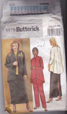 Butterick 3979 Pattern Uncut 22w 24w 26w Loose Fit Flowing Jacket Top Shaped Hem Pull On Skirt Pants Plus