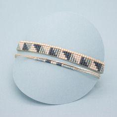 Bracelet tissé eevi , manchette multirangs - bracelet tissé en perles miyuki - or, gris et nude