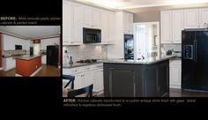 From white plastic laminate cabinets to an antique white finish with glaze.