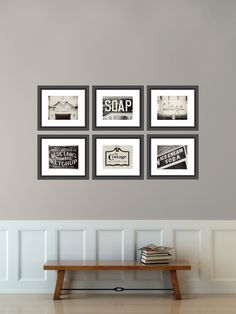 Vintage Sign Print Collection, Kitchen Decor, Shabby Chic Home Decor, Set of 6 Prints, Black And White, Cream, Rustic Decor. by LisaRussoFineArt on Etsy https://www.etsy.com/listing/157483257/vintage-sign-print-collection-kitchen