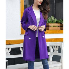 Z Avenue USA Purple Side-Pocket Trench Coat (£23) ❤ liked on Polyvore featuring plus size women's fashion, plus size clothing, plus size outerwear, plus size coats, plus size, purple coat, women's plus size coats, plus size women's trench coat, trench coats and plus size long coats