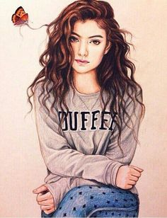 Image about ️lorde in Nice Drawings by Charlie Girly M, Girly Drawings, Art Drawings Sketches, Anime Girl Cute, Anime Art Girl, Cartoon Kunst, Cartoon Art, Best Friends Tumblr, Cute Girl Drawing