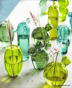 Love these cactus vases. they are so quirky and fun Roost Quirky Cactus Hand-Blown Glass Vases - Set Of 5 – Modish Store Quirky Home Decor, Diy Home Decor, Quirky Bedroom, Home Decor Hacks, Room Decor, Dresser La Table, Cactus E Suculentas, Cactus Decor, Decorating Rooms