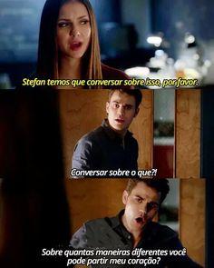 """""""The Vampire diaries- Stephan e Elena""""  Aquele momente q vc n sabe se desaba no choro, se fica com pena do Stephan ou se xinga a Elena de tudo qualquer nome..."""
