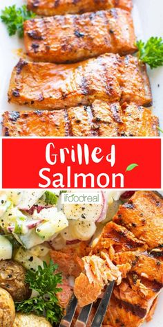 How to grill salmon until it's tender, juicy, and slightly charred! This Grilled Salmon Recipe uses just simple seasonings and no marinating necessary (just the time it takes to heat your grill!). Delicious Crockpot Recipes, Healthy Grilling Recipes, Healthy Salmon Recipes, Healthy Family Meals, Clean Eating Recipes, Real Food Recipes, Grill Recipes, Healthy Snacks, Grilled Salmon Seasoning