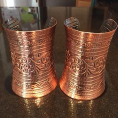 Rose gold bracelet set Set of 2 metal arm cuff bracelets. Ethnic print engraving. Can be worn on wrist or upper arm. Adjustable. Jewelry Bracelets