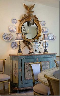 Charles Faudree french country- arrangement of blue and white plates French Decor, French Country Decorating, Armoire Buffet, Paisley Curtains, Blue Painted Furniture, Painted Chest, Apartment Decoration, Blue And White China, French Country House